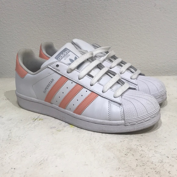 cheaper 0f457 2e0c1 Adidas white shell toes with pink stripes